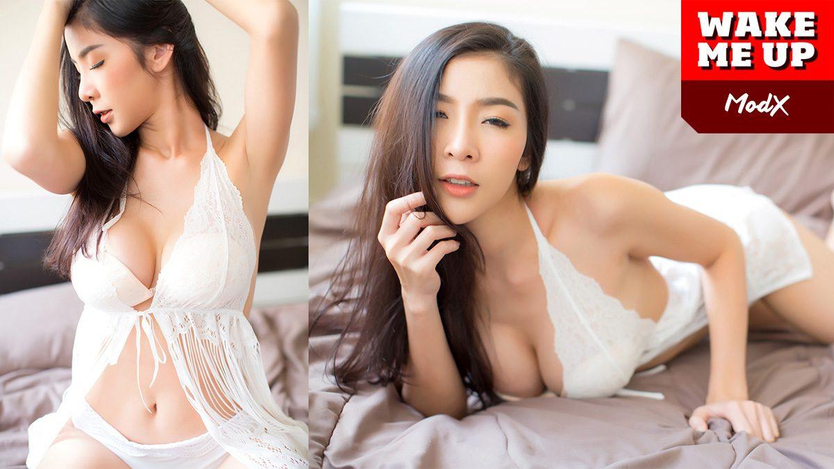 มดเอ็กซ์ RUSH ชวนเคลิ้มกับชุดนอนสีขาว กับอกทรงโต